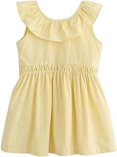 Aliciga ワンピース ドレス 女の子 無地 かわいい プリンセス バックレス ノースリーブ 後ろリボン飾り 背中ディープV コットン 甘い スカラップ おしゃれ お姫様ドレス
