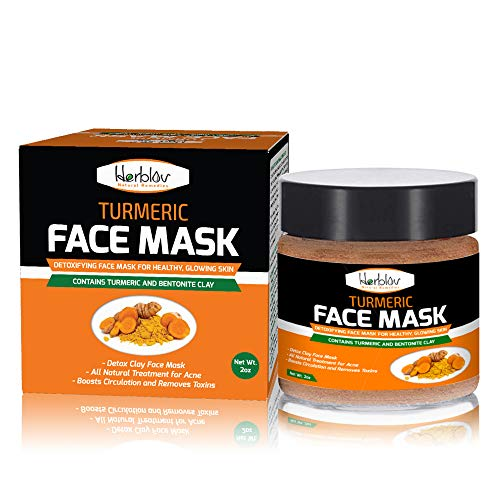 Turmeric Face Mask - Skin Brightening Mask with Turmeric and Bentonite Clay - All-Natural Face Mask for Acne Treatment - Boosts Circulation and Removes Toxins - Detox Clay Face Mask Made in USA