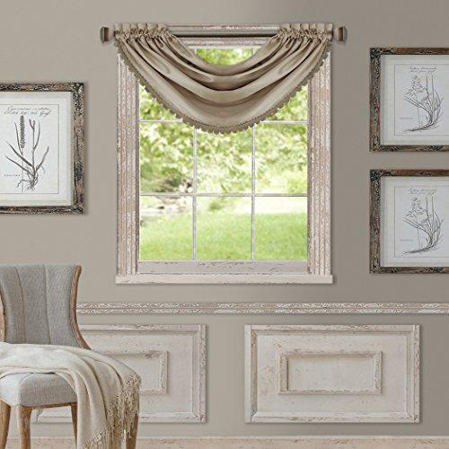 "Elrene Home Fashions All Seasons Room Darkening Rod Pocket Waterfall Window Valance, 52"" x 36"" (1, Taupe"