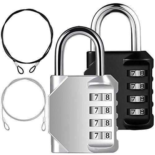 yucool 2Pack Kombination Vorhängeschloss, 4-stellige Lock Codes + 2Edelstahl Sicherheit Tether für Schützen Ihre Speicher, 4Stück (schwarz, silber)