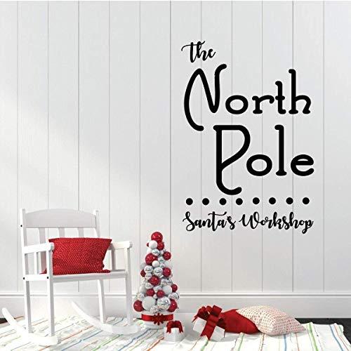 Adesivo da parete natalizio The North Pole Santas Work Shop Holiday Vinyl Decor per soggiorno o decorazione della casa