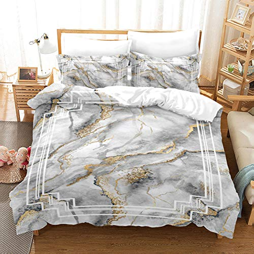 SKYZAHX Bedding Set Duvet Cover White Marble Pattern Microfiber Quilt Cover 79x79inch and 2 Pillow Cases, with Zipper closure Soft and breathable, Double