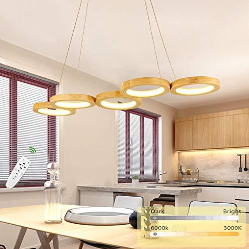 Ring LED Pendelleuchte Dimmbar Holz Hängeleuchte Esstisch Pendellampe Höhenverstellbar Modern Einfach Rund Kronleuchter mit Fernbedienung für Schlafzimmer Wohnzimmer Esszimmer Küche Holzlampe, L90cm
