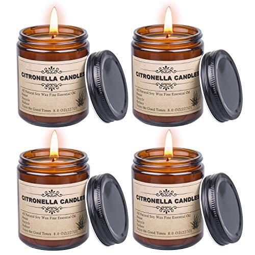 Citronella Kerze outdoor, Natürliche Sojawachs Kerzen, Duftkerze Citronella Kerzen glas perfekt für Camping, Indoor, Grillen, Picknicks, Garten, Sommergeschenk (1er Set)
