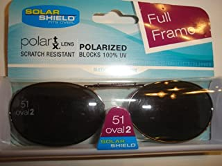Solar Shield 51 oval 2 Full Frame Polarized Clip On Sunglasses