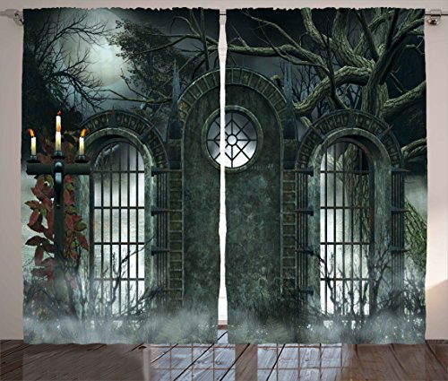 Ambesonne Horror House Curtains, Moon Halloween Historical Gate Gothic Background Candles Fiction View Print, Living Room Bedroom Window Drapes 2 Panel Set, 108' X 90', Green Blue