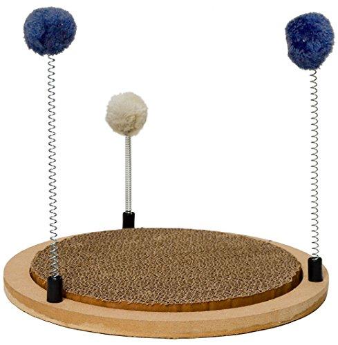 EYEPOWER Natur Kratzbrett inkl Katzen-Spielzeug Ø32cm Runde Kratzmatte aus Pappe mit Sprungfeder-Bällen Kratzmöbel
