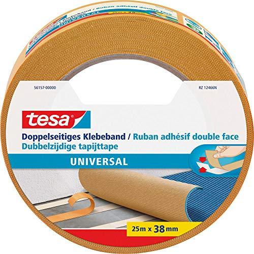 tesa Doppelseitiges Klebeband Universal - Vielseitiges Klebeband für Verpackungen, Deko und Teppiche oder zum Basteln - 25 m x 38 mm