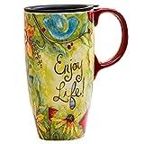 CEDAR HOME Coffee Ceramic Mug Porcelain Latte Tea Cup With Lid 17oz. Enjoy Life
