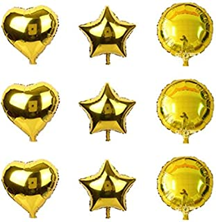 YPSelected 9pcs 18 Inch Foil Round Heart Star Shaped Balloon Wedding Party Decoration Mixed Pack (Gold)