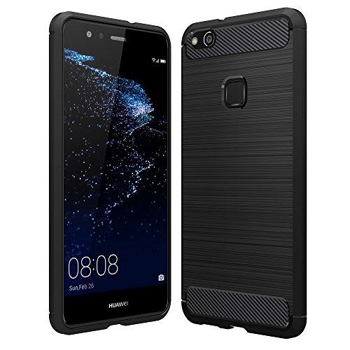Anjoo Hülle Kompatibel mit Huawei P10 Lite, Carbon Fiber Texture-Inner Shock Resistant-Weich & Flexibel TPU Cover Case Kompatibel mit Huawei P10 Lite, Schwarz