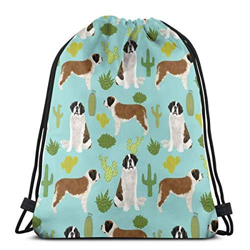 Jhonangel Saint Bernard Graphic Gym Bag pour Les Hommes, Cordon Sac à Dos avec Poches Sac à Cordes en Nylon imperméable Grand Sac à Dos 14.2 x 16.9 Pouces / 36 x 43 cm