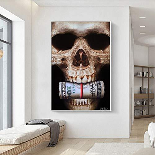 WOMGD® Abstracte zwarte schedel geld legpuzzels, educatief spel houten puzzel 1000 stuk, voor woonkamer Cuadros Home Decor