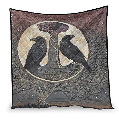 OwlOwlfan Viking Crow Thor Hammer Anti Allergy Lightweigt - Edredón de viaje para invierno (130 x 150 cm), color blanco