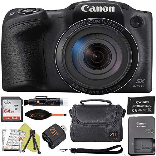 Canon PowerShot SX420 Digital Camera w/42x Optical Zoom - Wi-Fi & NFC Enabled (Black) ZeeTech Bundle (64GB Card + Deluxe Case Basic Bundle)