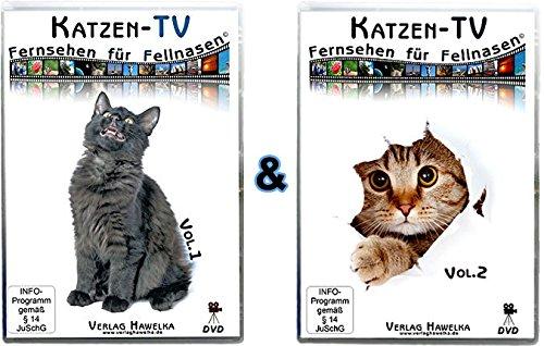 Verlag Hawelka Katzen-TV - Fernsehen für Fellnasen - Compilation - Vol. 1 + 2 (2 DVD`s) - Der ultimative Katzenspaß im Doppelpack! Mehr Spaß geht Nicht!