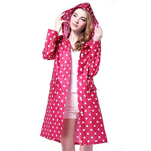 Abrigos Impermeables Poncho Impermeable Impermeable con Capucha para Mujer Ropa De Lluvia Chaqueta De Lluvia Larga-Rosa roja_Metro
