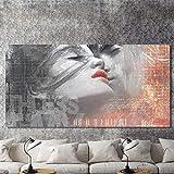 N / A Cartel de Graffiti Moderno e impresión de Pintura Mural de Arte Abstracto Amante Beso Utilizado para la decoración de la Sala Pintura sin Marco 40x80 cm