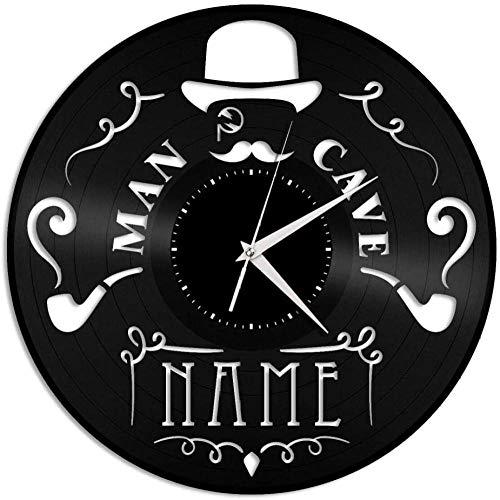 jjyyy Reloj de Pared de Vinilo de Cueva para Hombre, decoración de habitación de Oficina en casa, diseño Retro, Bar de Oficina, decoración del hogar