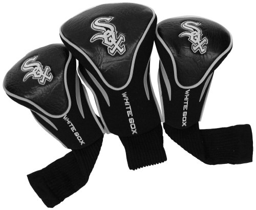 Team Golf MLB Chicago White Sox Contour Golf Club Headcovers (3 Count), Numbered 1, 3, & X, Fits Oversized Drivers, Utility, Rescue & Fairway Clubs, Velour lined for Extra Club Protection
