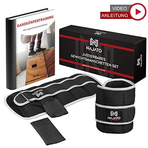 NAJATO Sports verstellbares Gewichtsmanschetten Fuß 2er Set – Mit reflektierender Umrandung – Ankle Weights für Fußgelenk und Handgelenk – Gewichte für Beine und Arme