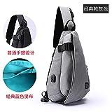 Veecome Male Oxford Cloth Chest Bag Cross-body Bag Shoulder Handbag Travel 29x13x44cm gray