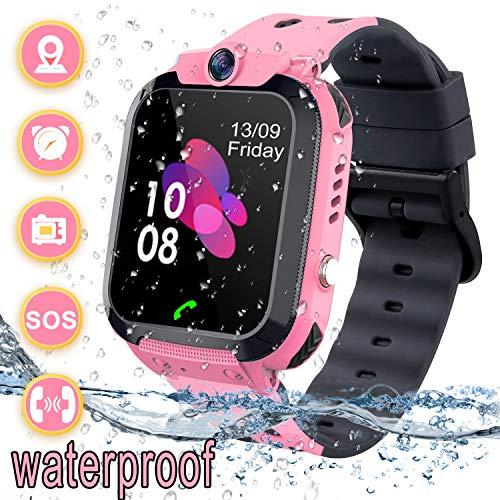 Smartwatch Kinder Wasserdicht Telefon Uhr für Kinder mit LBS Tracker SOS Voice Chat Kamera Spiel für Jungen und Mädchen Geburtstagsgeschenk (Pink)