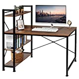 VECELO Computer Desk with 4-Tier Shelves,47 inch Study Writing Desk Space-Saving Design Table with Bookshelf, Multipurpose Home Office Workstation,Brown
