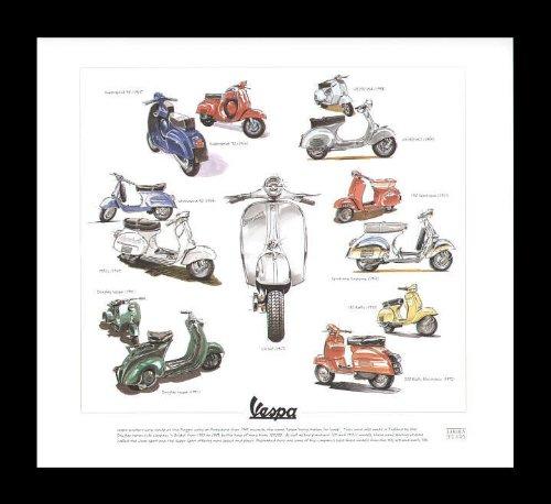Vespa Classic Scooters - Supersprint 90, GS150 VS4, VS1, 150 Sportique, Supreme, 180 Rally, 200 Rally Electronic, Standard 90, 150GL, Douglas Vespa, GS160 - Art Print