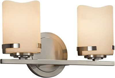 Cylinder with Metal Rim Faux Candle Shade in Cream Era 2-Light Bath Bar LED Dark Bronze Finish CandleAria