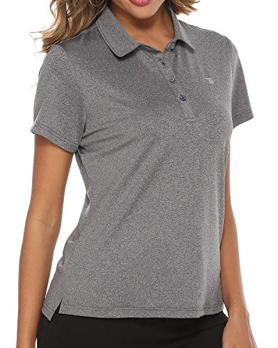 TBMPOY Women's Golf Polo T Shirts Lightweight Moisture Wicking Short Sleeve Shirt Quick Dry 4-Button Dark Grey L
