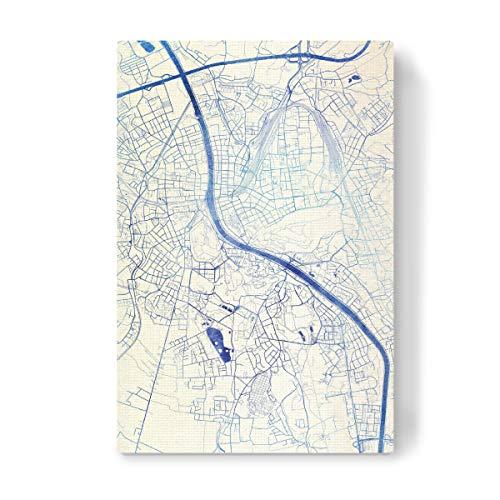 artboxONE Leinwand 90x60 cm Städte Salzburg O?sterreich Blue Infusion Map II von Makadi Atatu