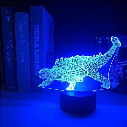 Ankylosaurus 3D luz visual dinosaurio acrílico multicolor luz de noche luz LED multicolor decoración creativa lámpara de mesa pequeña