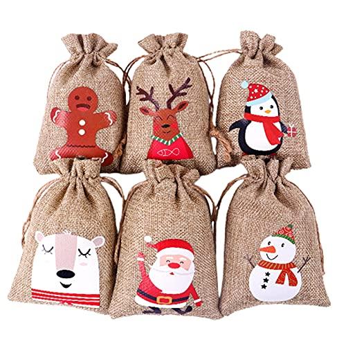 24 x calendario dell'Avvento natalizio 2021-24 giorni, da appendere, ghirlande, sacchetti regalo fai da te in feltro per conto alla rovescia, con coulisse per riempire decorazioni natalizie