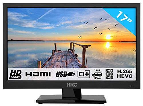 HKC 17H2: 43,9 cm (17 pollici) LED TV (HD Ready, Triple Tuner, CI +, Media Player USB 2.0, Caricabatteria da auto 12V) [Classe energetica A +]