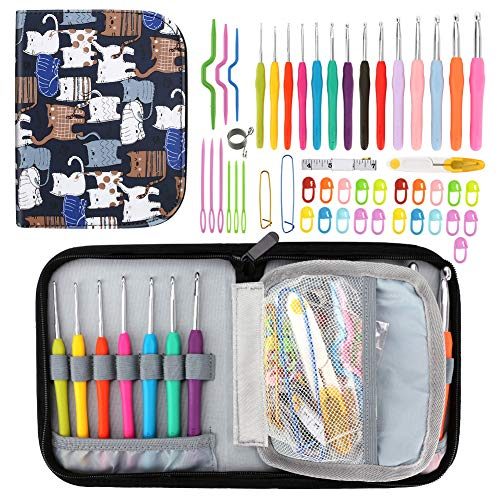 BestFire 39 Pcs Ergonomic Crochet Hooks Best Crochet Hook Set with Soft Handles for Extreme Comfor, Perfect Knitting Accessories for Arthritic Hands, Smooth Knitting Needles for Superior Results