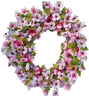 Stellar Performance Pink Dogwood Spring Door Wreath Indoor Outdoor 22 Inch Wreath for Front Door Spring Easter Mothers Day Summer Wreath Fits Between Storm Door