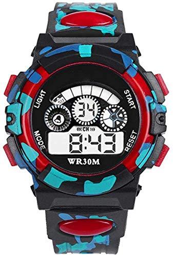 Reloj digital electrónico para niños, diseño de camuflaje y analógico, resistente al agua, con reloj despertador, cronógrafo, calendario, multifuncional, deportivo, 3