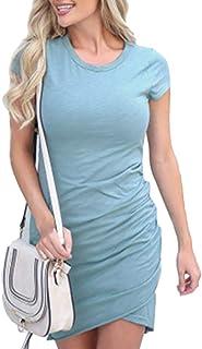 ZICUE Women Casual Short Sleeve Ruched Dress Bodycon T-Shirt Mini Dress Sundress