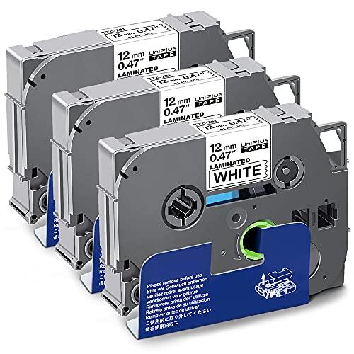 UniPlus 3x Nastro per Etichette Compatibile in Sostituzione di Brother Tze-231 TZe231 TZ 231 12mm Nero su Bianco Laminato Tape Cassetta per Brother PT H107 1000 H105 1010 Cube PT-P300BT H110 H100LB