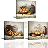 Fruits Canvas Wall Art, Oranges In Basket Pears In Bowl Vintage Picture, Flowers On Talbe Retro Painting, Perfect Combination of Antiques and Fine Art Home Decor For Kitchen Dining Room (Waterproof)