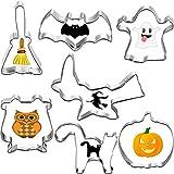 7 Piezas Cortadores de Galletas de Halloween Set Moldes de Galletas con Murciélagos de Calabaza Búhos Gato Fantasma Brujas Diseño de Palo de Escoba para la Decoración de Galletas de Halloween