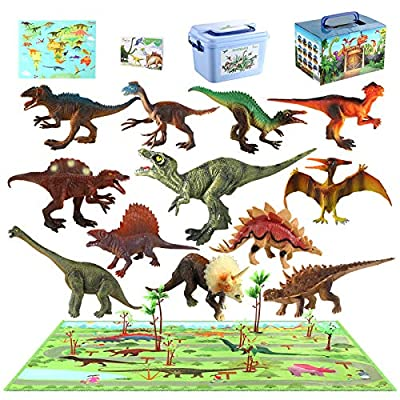 MEIGO Dinosaur Toys - Toddlers 7'' Educational Realistic Dinosaur Figures w/ 31.5''x31.5'' Activity Play Mat | Dino Book & Map | Preschool Learning Gift for Kids 3 4 5 6 Year Old Boys Girls (12pcs) from MEIGO