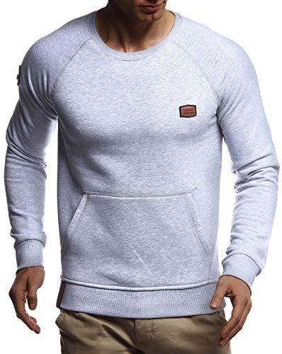 Leif Nelson heren sweatshirt trui ronde hals uitsnijding slim fit katoenaandeel basic mannen lange mouwen trui wit shirt met lange mouwen Crew Neck Black Sweater T-shirt lange mouwen LN8279