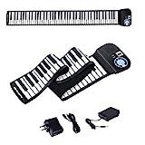 BABY JOY 88 Keys Roll Up Piano, Upgraded Electronic Piano Keyboard, Portable Piano w/Bluetooth, MP3 Headphone USB Input, MIDI OUT, 128 Rhythms, Record, Play, Volume Control (Black, 88Keys)