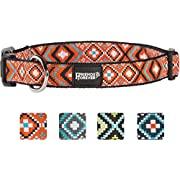 Friends Forever Dog Collar for Dogs - Fashion Woven Square Pattern Cute Puppy Collar, Orange Medium 14-20""