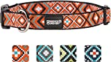 Friends Forever Dog Collar for Dogs - Fashion Woven Square Pattern Cute Puppy Collar, Orange Large 18-26'