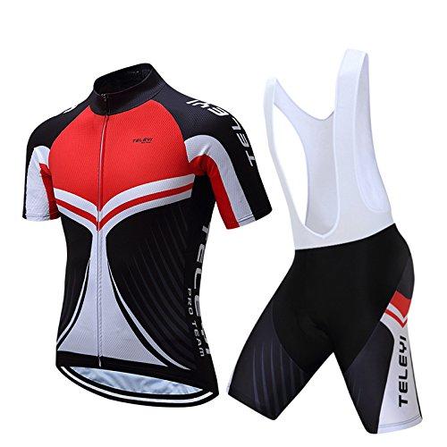 CZDLCF Ciclismo Maillot, Negro Y Rojo para Hombre Jersey, Pantalones Cortos Babero...