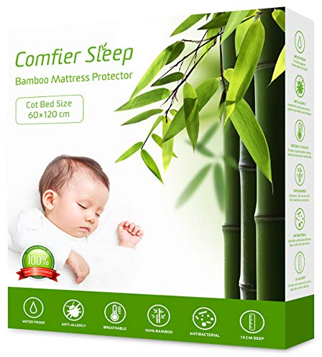 Comfier Sleep Waterproof Cot bed Mattress Protector 120 x 60 cm Super Soft 100% Bamboo Mattress Cover for Baby Cot Bed (60x120cm) Breathable and non noisy Anti bacterial and fully fitted