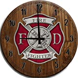 TBA Large Wall Clock Fire Fighter Maltese Cross Red Silver Shield Bar Sign Home Décor Classic Walnut 14 inch Wall Decor
